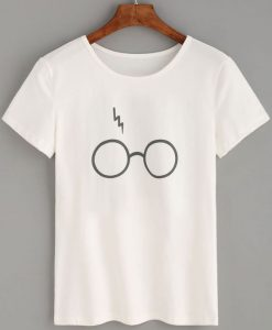 Glasses Lightning Print T-shirt ZK01